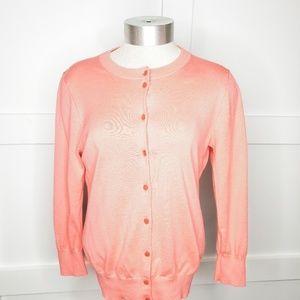 J. Crew Claire Cardigan Cotton Sweater Coral